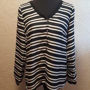 Zara Basic Blk/Wht stripe blouse sz Medium